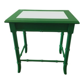 Thomasville Faux Bamboo Green Side Table For Sale