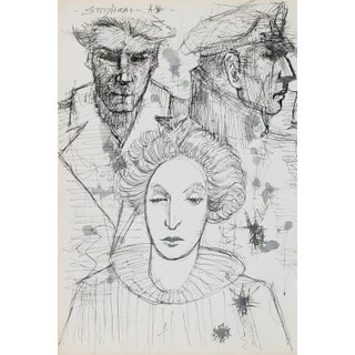 Portrait Drawing of Three Heads Late 20th Century Ink For Sale