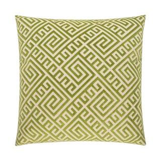 Olive Greek Key Velvet Pillow