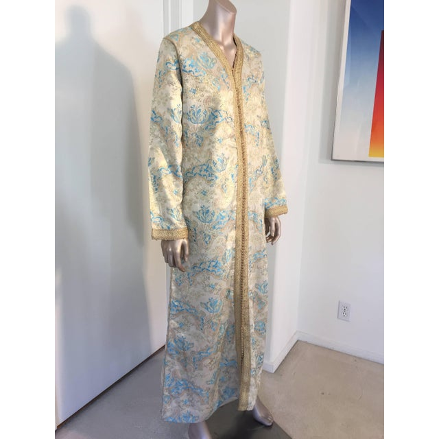 Elegant Moroccan caftan gold and aquamarine blue metallic gorgeous vintage hostess gown. Floral multi-colored brocade...