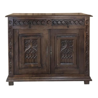 19th Century French Gothic Low Buffet For Sale