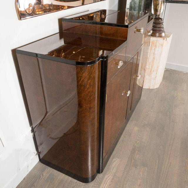 1930s Streamlined Art Deco Bar/Cabinet in Book-Matched Elm with Plexi Pulls For Sale - Image 5 of 6