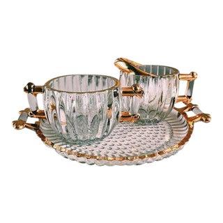 Vintage Hollywood Regency Glass Cream + Sugar Set W/ Gold Leaf Detailing - 3 Piece Set For Sale