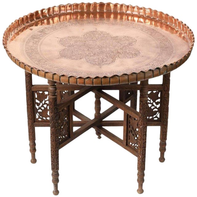 Early 20th Century Middle Eastern Syrian Antique Brass Tray Table With Wooden Folding Stand For Sale