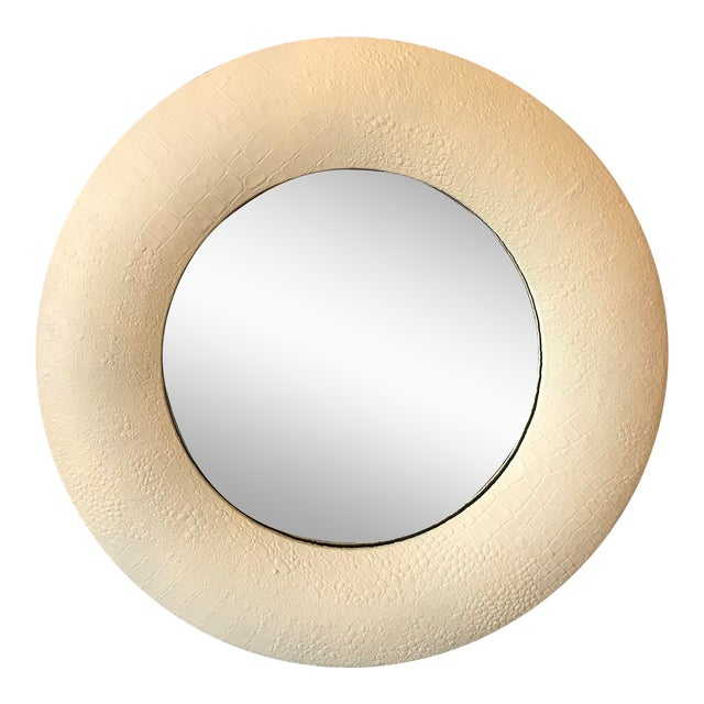 Off White Embossed Leather Round Mirror For Sale