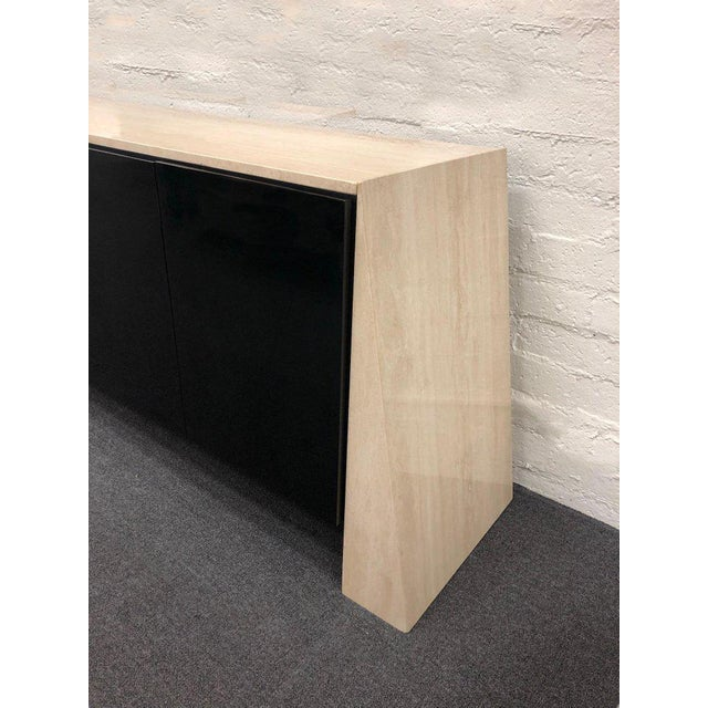 Italian Travertine and Black Lacquered Credenza For Sale - Image 4 of 8
