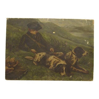 Hunting Game Antique Painting For Sale