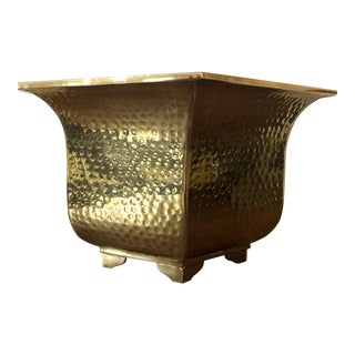 Mid Century Hammered Brass Hexagonal Planter For Sale