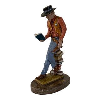 """1970s Resin Cowboy Figurine, """"Drawin a Bead on It"""" For Sale"""