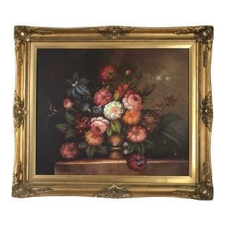 Framed Victorian Floral Still Life Oil Painting