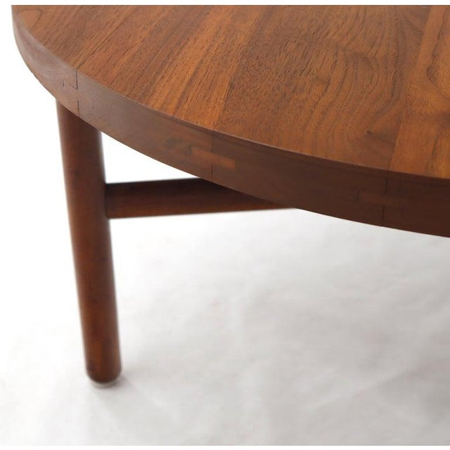 Thick Solid Teak Top Round Coffee Center Table For Sale - Image 4 of 11