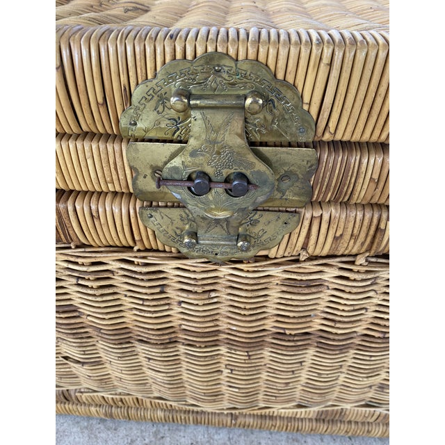Boho Chic Vintage Coastal Wicker Braid Drop Down Front Trunk For Sale - Image 3 of 13