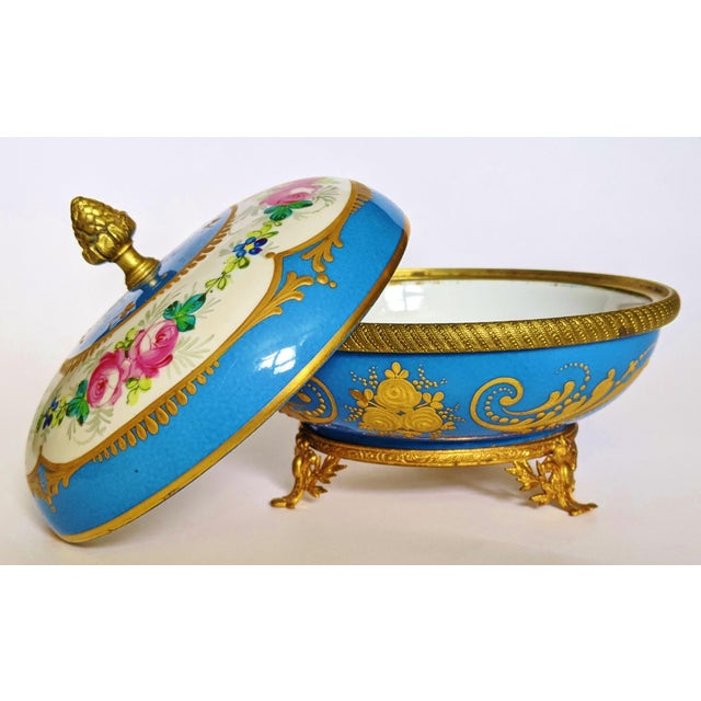 French Antique French Gilt Bronze & Porcelain Sevres Jewelry Box / Potpourri For Sale - Image 3 of 13