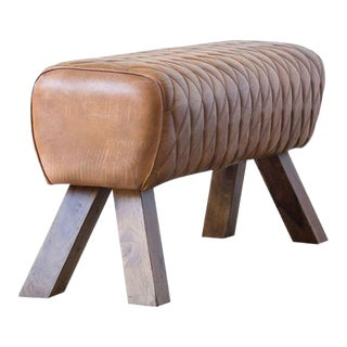 Classic Wooden Bench With Stiched Leather Top For Sale