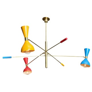 Vintage Brass Chandelier with Multicolored Lacquered Shades For Sale