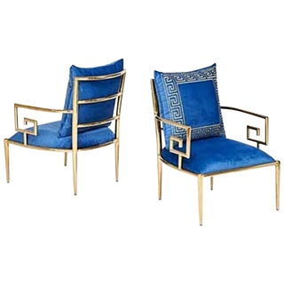 Pair of Asian Modern Greek Key Arm Chairs For Sale