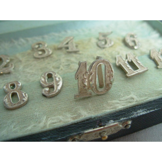 Drawing/Sketching Materials Antique Sterling Silver Numbers Drink or Napkin Markers For Sale - Image 7 of 11