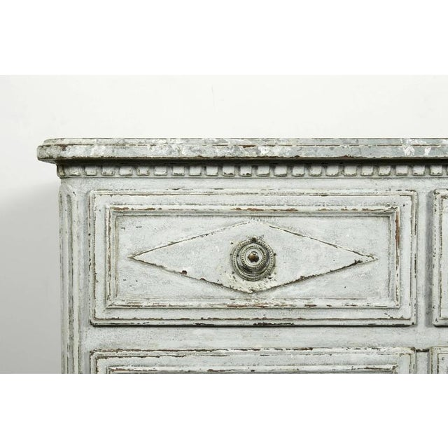 French Louis XVI Period Painted Faux Marble Top Commode Chest of Drawers For Sale In Birmingham - Image 6 of 10