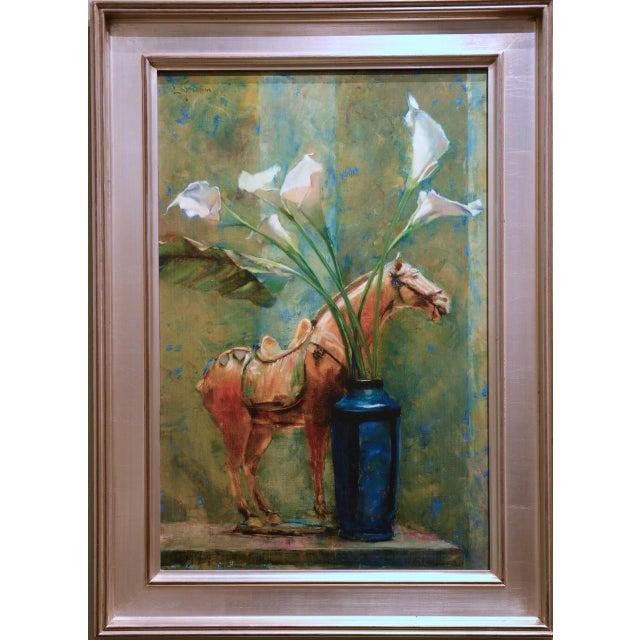 Blue Vase & Horse Statue Framed Glicée Print - Image 3 of 3