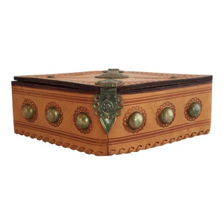 Late 20th Century Tooled Leather Box For Sale