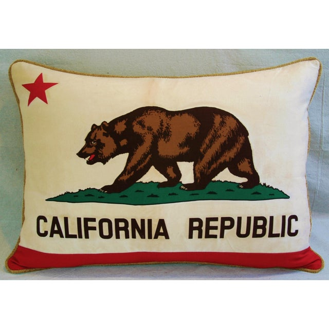 "Abstract Jumbo California Republic Bear Flag Feather/Down Pillow 31"" X 22"" For Sale - Image 3 of 10"