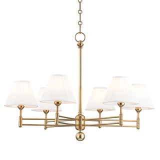 Classic No.1 6 Light Chandelier - Aged Brass Preview