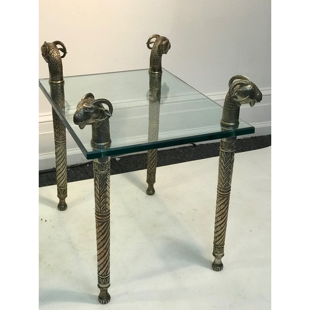 Modern Late 20th Century Exceptional Ram's Head Side Accent Tables - a Pair For Sale - Image 3 of 6