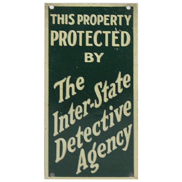 """1930s Advertising Sign, """"The Inter-State Detective Agency""""."""