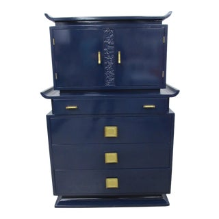 1940s Double Pagoda Chinoiserie Lacquered Gentleman's Chest For Sale