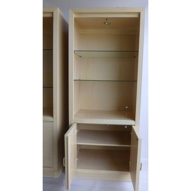 Modern Split Reed Lighted Cabinets - A Pair - Image 5 of 11