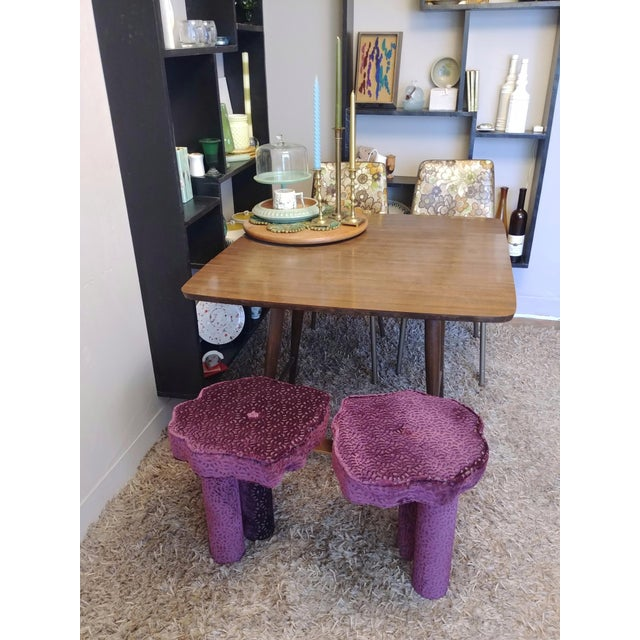 Modern aubergine cut velvet double flower bench is the perfect size beautiful unique cool bench for a small dining table,...