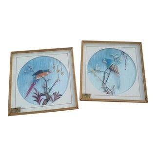 Boho Chic Avian Wall Art - a Pair For Sale