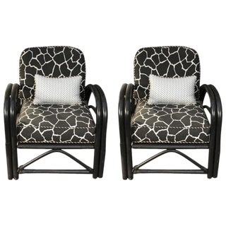1960s Vintage Outdoor Art Deco Painted and Bent Bamboo Armchairs- a Pair For Sale