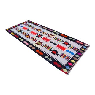 3x6 Rug Hand Woven Turkish Oushak Kilim Rug - 3′9″ × 9′1″ For Sale