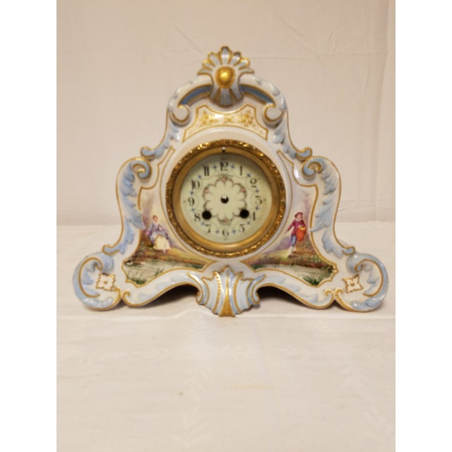 Antique Peabody Porcelain Hand Painted Clock - Image 2 of 9