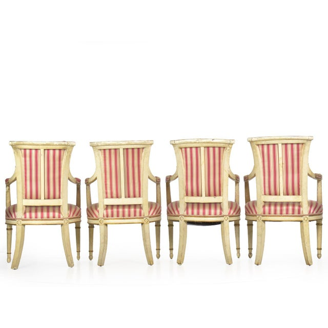Set of Four Neoclassical White-Painted French Accent Arm Chairs, 19th Century For Sale - Image 4 of 13