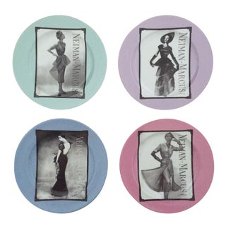 "Neiman Marcus Rare Vintage "" 95th Anniversary "" Fashion Design Fine China Dessert Plates - Set of 4 For Sale"