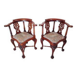 Georgian Style Mahogany Chippendale Corner Chairs - a Pair For Sale