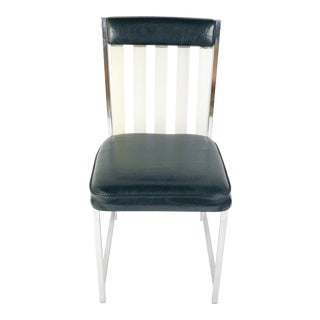 Mid Century Chromed Steel and Lucite Black Vinyl Upholstery Dining Chairs - Set of 6 For Sale