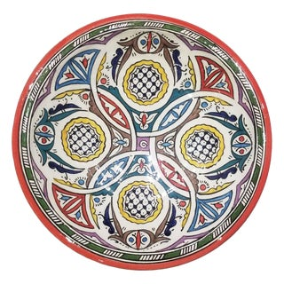 Moroccan Hand Painted Pottery Plate, Multi-Color 93 For Sale