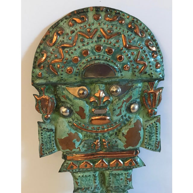 Late 20th Century Vintage Copper Aztec God Wall Hanging For Sale - Image 5 of 9