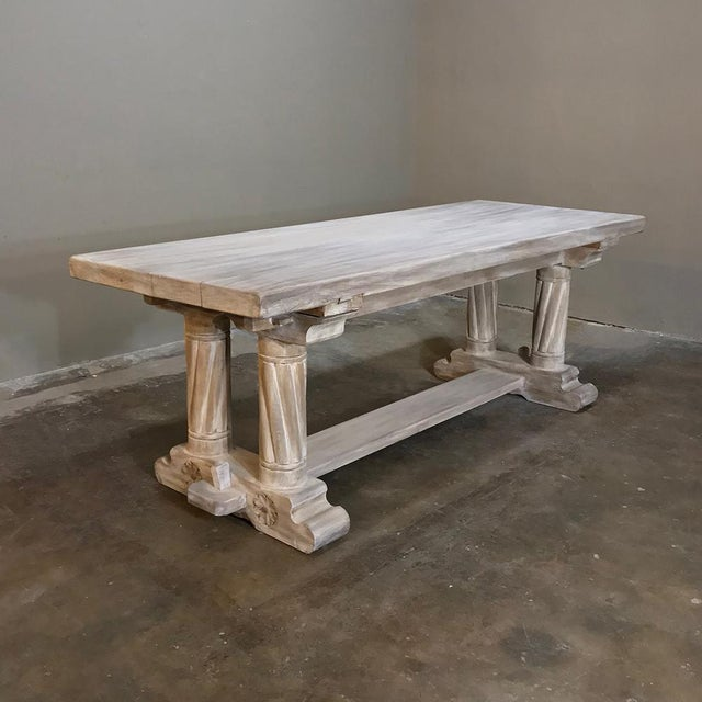 White Antique Rustic Gothic Stripped Oak Dining Table For Sale - Image 8 of 8