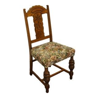 Vintage Oak English Revival Gothic Jacobean Side Chair For Sale