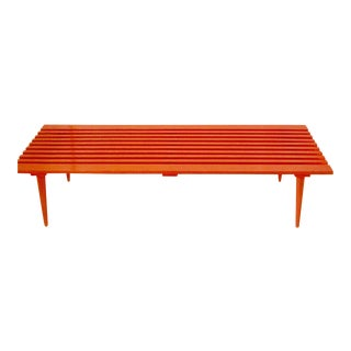 George Nelson Style Orange Lacquered Bench