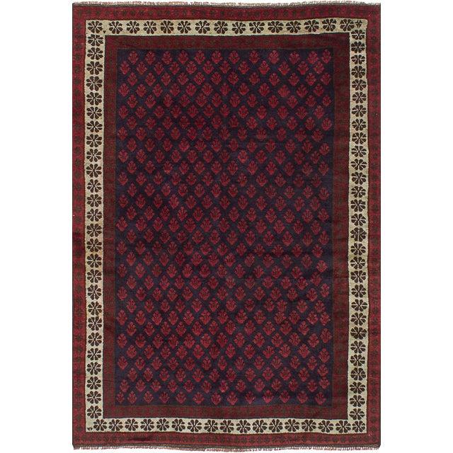 Afghan Red Wool Pile Large Vintage Rug - 5' X 7'