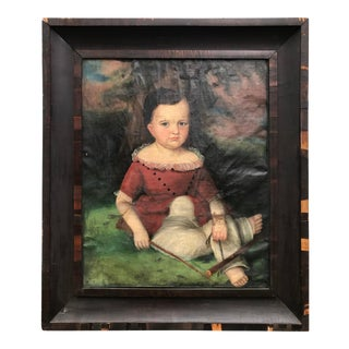 Folk Art Young Boy Painting by Susan Walters For Sale