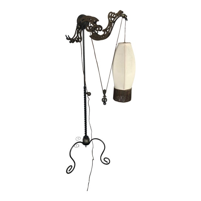 1990s Gothic Gear & Iron Pulley Floor Lamp For Sale