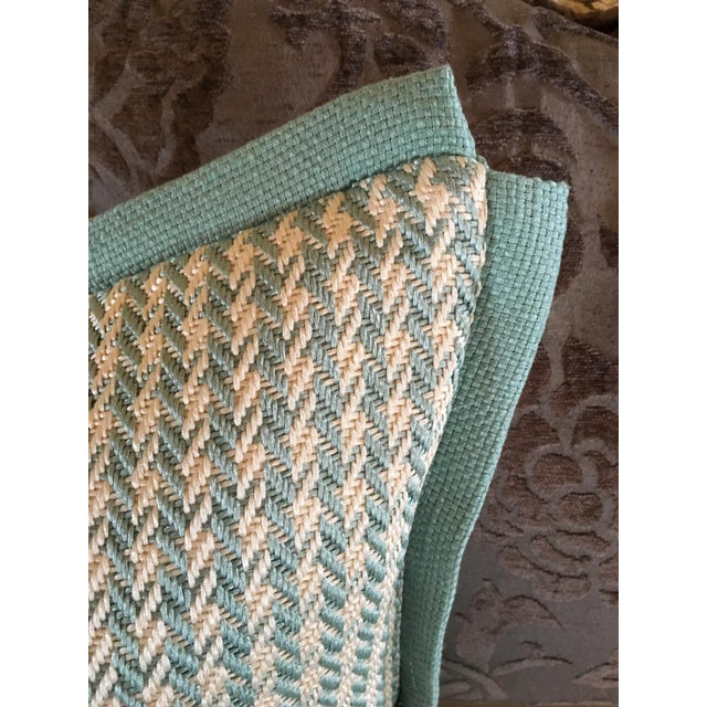 2010s Aqua Houndstooth Pillow Covers - A Pair For Sale - Image 5 of 13