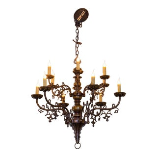 Belgian Gothic-Style Bronze Chandelier with Twelve Arms, circa 1900 For Sale