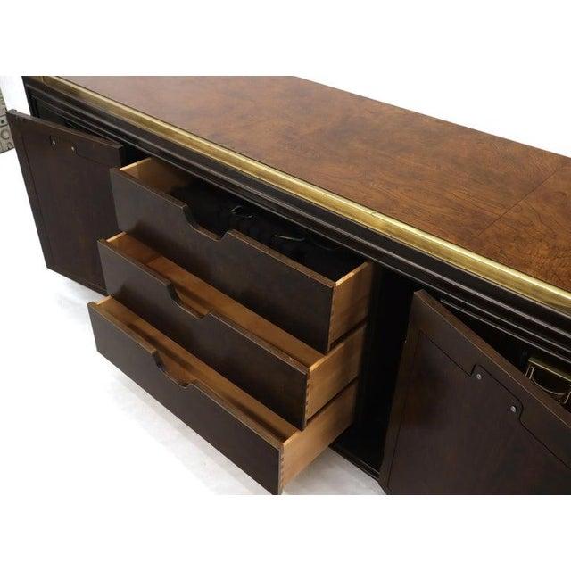 Solid Brass Trim Burl Wood Credenza Server Cabinet Extra Long Dresser For Sale - Image 9 of 10